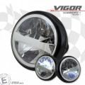 LED Haupt Scheinwerfer VIGOR MATT schwarz 7 Zoll Befestigung seitlich E-Geprüft