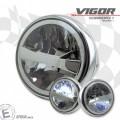 LED Haupt Scheinwerfer VIGOR chrom 7 Zoll Befestigung seitlich E-Geprüft