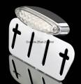 LED-Rücklicht im verchromtem Metallgehäuse mit Nummernschildplatte