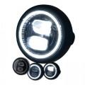 LED Haupt Scheinwerfer PEARL I GLANZ schwarz 5 3/4 Zoll Befestigung seitlich E-Geprüft