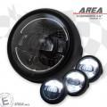 LED Haupt Scheinwerfer AREA III mit TFL glanz schwarz 5 3/4 Zoll Befestigung seitlich E-Geprüft