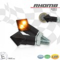 LED Blinker RHoMB ALU Gehäuse schwarz getöntes Glas M8