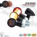 LED SMD Rücklicht - Blinkereinheit ZERO D=19,5mm M8 Glas GETÖNT Gehäuse ALU SCHWARZ E-geprüft