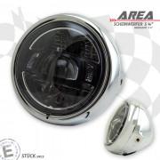 LED Haupt Scheinwerfer AREA I mit TFL chrom 5 3/4 Zoll Befestigung seitlich E-Geprüft