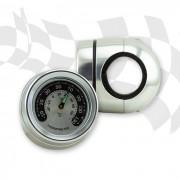 Lenker Thermometer im Metallgehäuse CHROM kurze Version für 22 mm (7/8