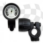 Lenker Thermometer im Metallgehäuse SCHWARZ lange Version für 22 mm (7/8
