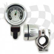 Lenker Thermometer im Metallgehäuse CHROM lange Version für 22 mm (7/8