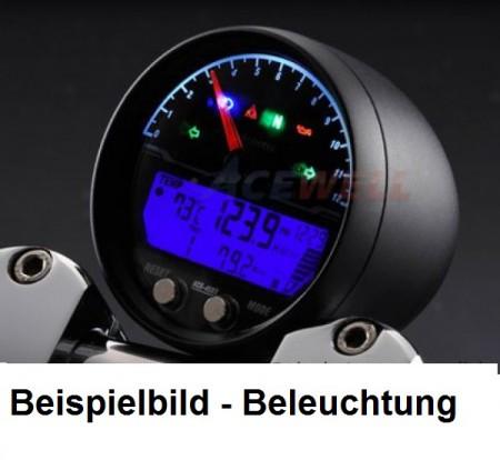 schwarz Drehzahlmesser mit digitalem Betriebsstundenzähler 6000 U//Min.